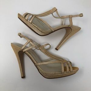 Caparros 7.5 gold shimmery peep toe dance shoes